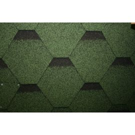 Hexagonal Reinforced Fibreglass Roofing Shingles GREEN (10yr Guarantee) - Peel off adhesive backing -  (3m2 per pack)