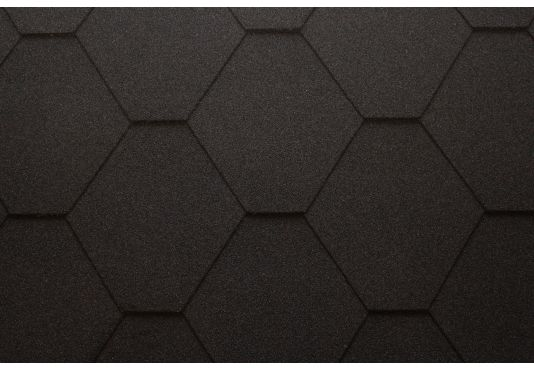 Hexagonal Reinforced Fibreglass Roofing Shingles BLACK  (10yr Guarantee) - Peel off adhesive backing - (3m2 per pack)