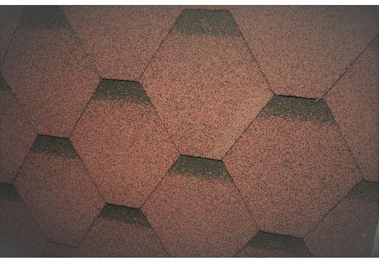 Hexagonal Reinforced Fibreglass Roofing Shingles BROWN (10yr Guarantee) - Peel off adhesive backing - (3m2 per pack)