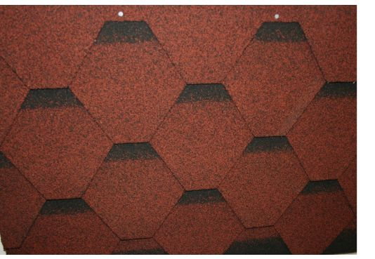Hexagonal Reinforced Fibreglass Roofing Shingles RED  (10yr Guarantee) - Peel off adhesive backing - (3m2 per pack)