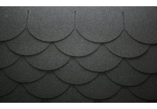 SCALLOPED Reinforced Fibreglass Roofing Felt Shingles BLACK (10yr Guarantee) - (3m2 per pack)