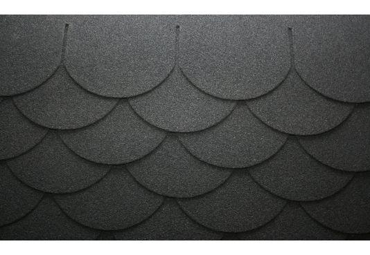 SCALLOPED Reinforced Fibreglass Roofing Felt Shingles BLACK (10yr Guarantee) - (3m2 per pack)