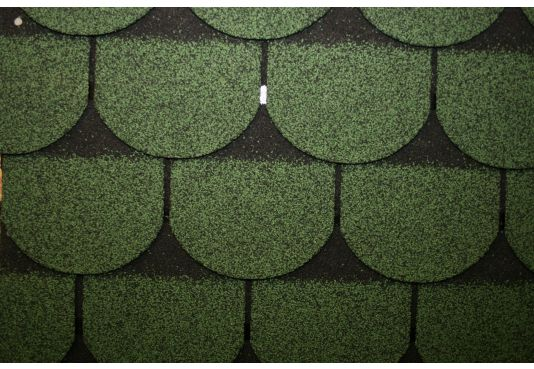 SCALLOPED Reinforced Fibreglass Roofing Felt Shingles GREEN (10yr Guarantee) - (3m2 per pack)
